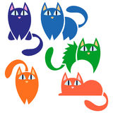 A set of funny cats. A set of funny colorful cats Stock Image
