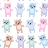 Set funny cats, pastel colors on white background Royalty Free Stock Image