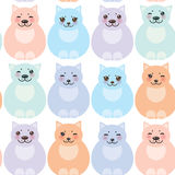 Set funny cats, pastel colors on white background Stock Photos