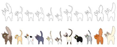 Set of funny cats showing their butts. With and without colors royalty free illustration