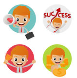 Set of funny character on business concept Royalty Free Stock Photography