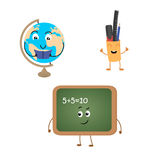 Set of funny characters from blackboard, globe, school supplies. Vector illustration in cartoon style on a white background Stock Image
