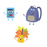 Set of funny characters from calculator, school bag, bell. Vector illustration in cartoon style on a white background Royalty Free Stock Photography