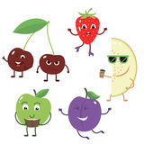 Set of funny characters from fruit. Royalty Free Stock Photos