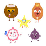 Set of funny characters from fruits and coconut. Vector illustration in cartoon style on a white background Stock Images