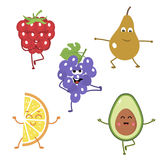 Set of funny characters from fruits engaged in yoga. vector illustration