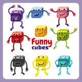 Set of funny characters funny dice in different poses Royalty Free Stock Photos