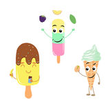 Set of funny characters from ice cream. Stock Image