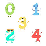 Set of funny characters from numbers. Vector illustration in cartoon style on a white background Stock Image