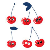 Set of funny cherries on a white background. Royalty Free Stock Photo