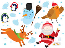Set of Funny Christmas Characters. Santa, Robin, Reindeer, Penguins and Snowman Stock Photos