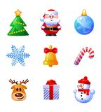 Set of funny Christmas icons.Vector illustration. Cartoon characters. Stock Images
