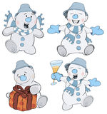 Set of funny Christmas snowman cartoon Stock Image