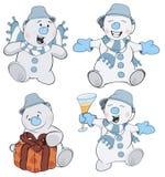 Set of funny Christmas snowman cartoon Stock Image