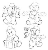 Set of funny Christmas snowman. Coloring book Royalty Free Stock Image