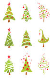 Set of funny christmas trees vector illustration