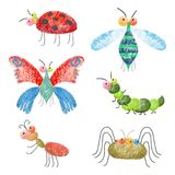 Set of funny colorful bugs on vector illustration. Set of funny colorful bugs including caterpillar and butterfly, dragonfly and ladybug, depicted on vector stock illustration
