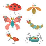 Set of funny colorful bugs on vector illustration. Set of funny colorful bugs including caterpillar and butterfly, dragonfly and ladybug, depicted on vector vector illustration