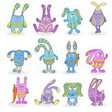 Set of funny colorful bunnies on a white background  Royalty Free Stock Photography