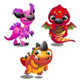Set of funny colorful fantasy pets with big trusting eyes isolated on white background. Elements to create images, cards royalty free illustration