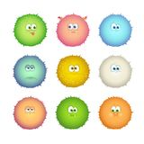 Set of funny colorful monsters, emoticons isolated on white background. Vector illustration Stock Image