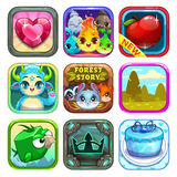Set of funny cool app store game icons Royalty Free Stock Image