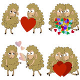 Set of funny couples of sheeps for Valentine Stock Image