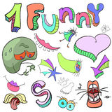 Set of funny crazy characters , signs, aliens , imaginary , cart. Oon, bright vector illustration