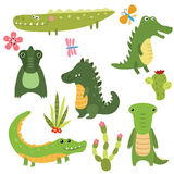 Set funny crocodiles Royalty Free Stock Photos
