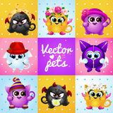 Set of funny cute creatures Stock Photos