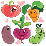 Set of funny cute vector cartoon vegetables with smiling faces for stickers or kids design. Set of funny cute vector cartoon vegetables with smiling faces, for Royalty Free Stock Images