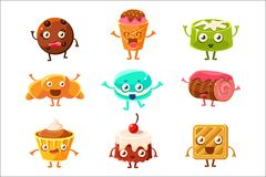 Set of funny dessert characters - croissant, cupcake, cake, tiramisu, pretzel, macaroon, cartoon style vector. Illustration isolated on white background. Cute royalty free illustration