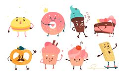 Set of funny dessert characters with human faces Royalty Free Stock Photography