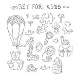 Set of funny doodle toys. Vector stickers collection. Stock Image