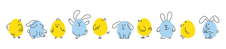 Set of funny Easter bunnies and chicks. Easter horizontal border, Set of funny doodle chicks and bunnies, Flat vector illustration royalty free illustration