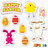Set of funny easter stickies Royalty Free Stock Image