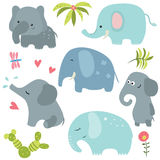 Set funny elephants. Set of different elephants on white background Royalty Free Stock Photos