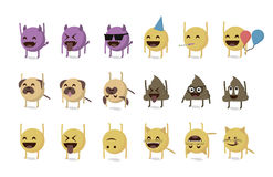 Set of funny emoticon. Vector isolated on white background. happy mood Royalty Free Stock Image