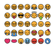 Set of 35 funny emoticons with black stroke, emoji flat design. Stock Photography