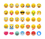 Set of 35 funny emoticons, emoji flat design. Stock Photography