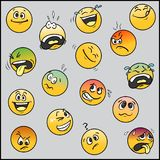 Set of 16 funny emoticons. A set of 16 funny emoticons in my own version: smiles, panic, laughter, satisfied, unpleasant, sad, scared, tired, cute, doubt or Royalty Free Stock Photo