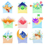 Set of funny envelopes with various characters Stock Images