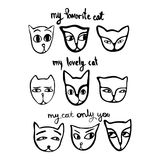 A set of funny faces of cats in the style of a hand-drawn. A set of funny faces of cats in the style of a hand-drawn illustration with inscriptions. Vector Royalty Free Stock Photo