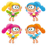 Set of funny Fairy. Cartoon and vector characters Stock Images