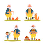 Set of funny farmer. Character design in cartoon style. Vector illustration Stock Photo