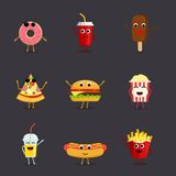 Set of funny fast food characters isolated on background. Cute cartoon fastfood menu icons in flat style. Vector illustration Royalty Free Stock Photos