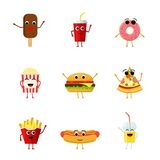 Set of funny fast food characters isolated on white background. Cute cartoon fastfood menu icons in flat style. Vector illustration Stock Images