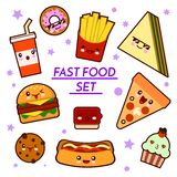 Set of funny fast food characters - pizza, French fries, burger, hot dog, sandwich ,cartoon illustration on white stock illustration