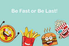 Set of funny fast food icons. Cartoon face food emoji. Funny food concept. Royalty Free Stock Photo