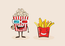 Set of funny fast food icons. Cartoon face food emoji. Funny food concept. Royalty Free Stock Photos